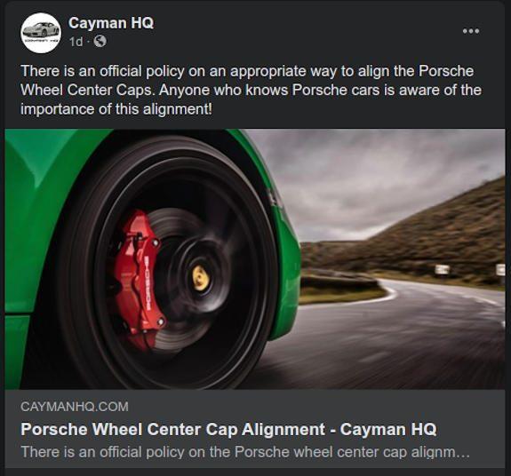 CaymanHQ - Porsche Wheel Center Cap Alignment - Article
